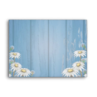 Whimsical Wood Daisy Wedding Envelope