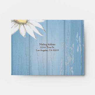 Whimsical Wood Daisy Wedding Response Envelope