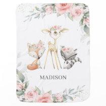 Whimsical Woodland Animals Deer Soft Pink Floral Baby Blanket