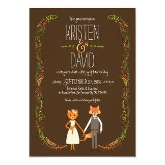 Whimsical Woodland Cat & Fox Couple Wedding Card