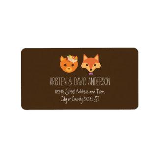 Whimsical Woodland Cat & Fox Couple Wedding Label