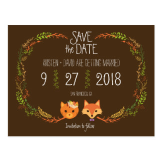 Whimsical Woodland Cat & Fox wedding Save the Date Postcard