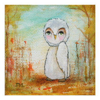 Whimsical Woodland Creature, Owl Art Poster