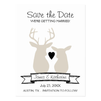 Whimsical Woodland Deer Monogram Save the Date Postcards