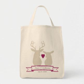 Whimsical Woodland Deer Monogram Wedding Favor Canvas Bags