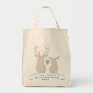 Whimsical Woodland Deer Monogram Wedding Favor Bags