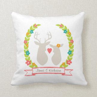 Whimsical Woodland Deer Monogram Wedding Keepsake Throw Pillows