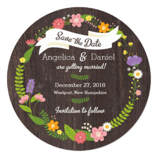 Whimsical Woodland Floral Wreath Save the Date Card
