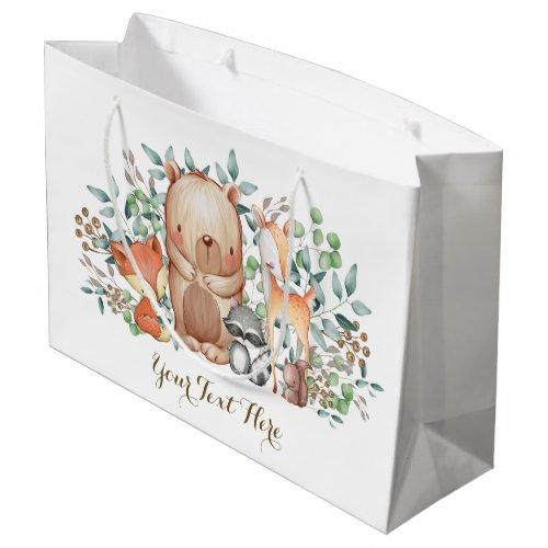 Whimsical Woodland Forest Animals Baby Shower Large Gift Bag