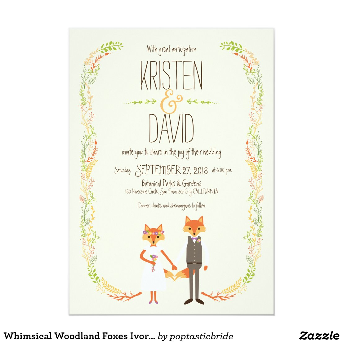 Whimsical Woodland Foxes Ivory Wedding