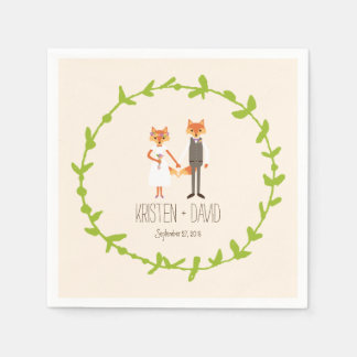 Whimsical Woodland Foxes Ivory wedding Paper Napkin