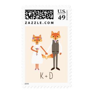 Whimsical Woodland Foxes Ivory Wedding Postage