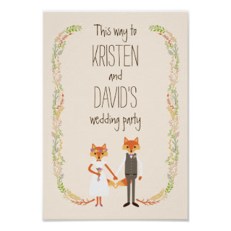 Whimsical Woodland Foxes Ivory Wedding Sign Poster