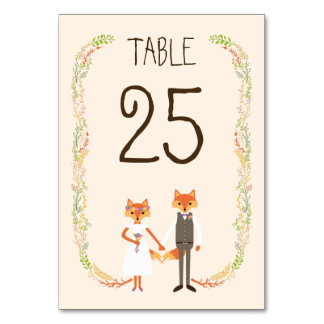 Whimsical Woodland Foxes Ivory Wedding Table Card