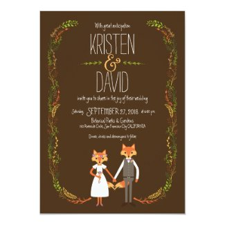 Whimsical Woodland Foxes Wedding Card