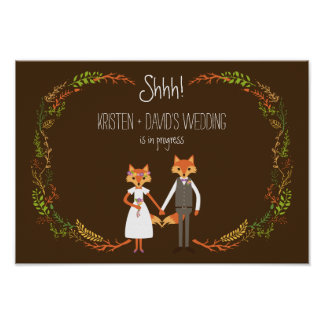 Whimsical Woodland Foxes wedding in Progress Poster