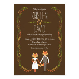 Whimsical Woodland Foxes Wedding 5x7 Paper Invitation Card