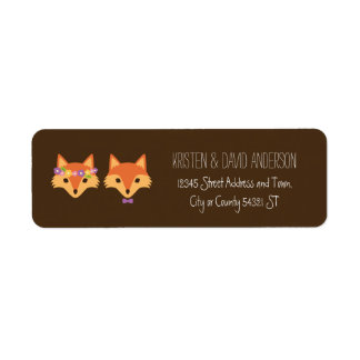 Whimsical Woodland Foxes Wedding Label