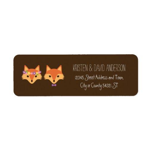 Whimsical Woodland Foxes Wedding Label
