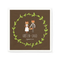 Whimsical Woodland Foxes wedding Napkin
