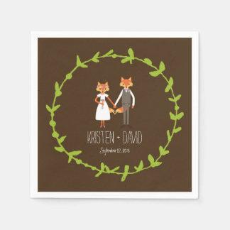 Whimsical Woodland Foxes wedding Napkin