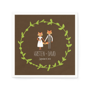 Whimsical Woodland Foxes wedding Standard Cocktail Napkin