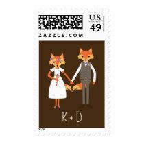 Whimsical Woodland Foxes Wedding Postage