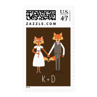 Whimsical Woodland Foxes Wedding Postage Stamp