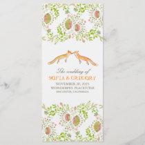 whimsical woodland foxes wedding programs