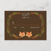 Whimsical Woodland Foxes Wedding RSVP
