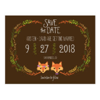 Whimsical Woodland Foxes wedding Save the Date Postcard
