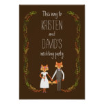 Whimsical Woodland Foxes Wedding Sign Print