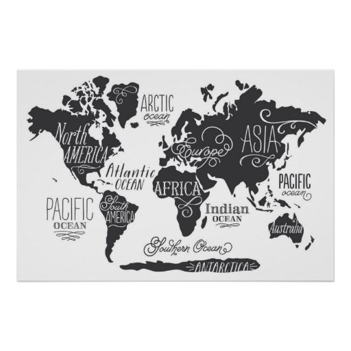 whimsical world map poster zazzle. Black Bedroom Furniture Sets. Home Design Ideas