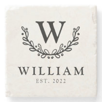 Whimsical Wreath Monogram Family Stone Coaster