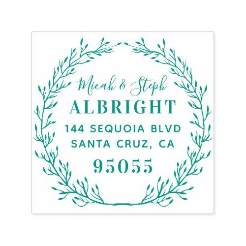 Whimsical Wreath Wedding Names Return Address Self_inking Stamp