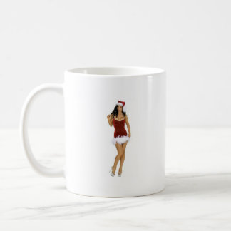 Whimsical Xmas: SANTA GAL Brunette,righthand [mug] Classic White Coffee Mug