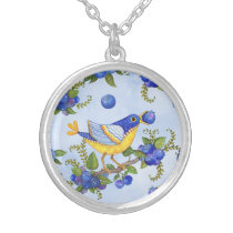 Whimsical Yellow Birds & Blueberries Necklace