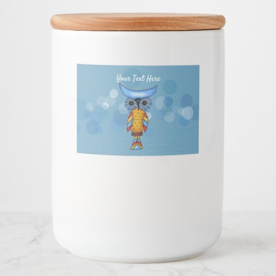 Whimsical Yellow Blue Owl Colorful Feathers Circle Food