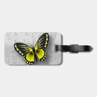 Whimsical Yellow Butterfly on Gray Floral Bag Tag