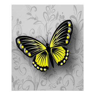 Whimsical Yellow Butterfly on Gray Floral Poster