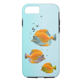 Whimsical Yellow Coral Fish Monogram Powder Blue iPhone 7 Case