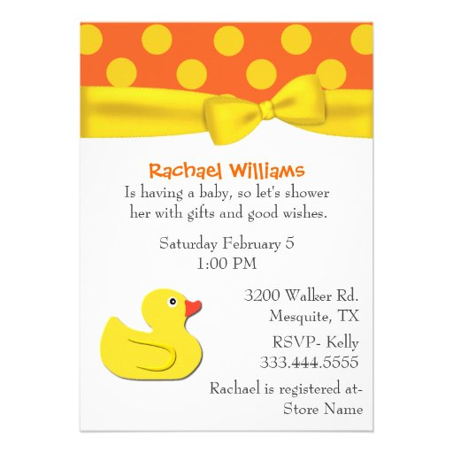 Whimsical Yellow Duck Baby Shower Invitation