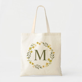 Whimsical Yellow Floral Wreath Monogram Tote Bag