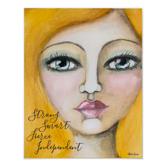 Whimsical Yellow Hair Girl Portrait Art Colorful Poster