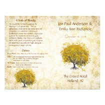 Whimsical Yellow Heart Leaf Tree Wedding Program