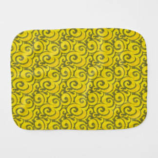 whimsical yellow pattern baby burp cloths