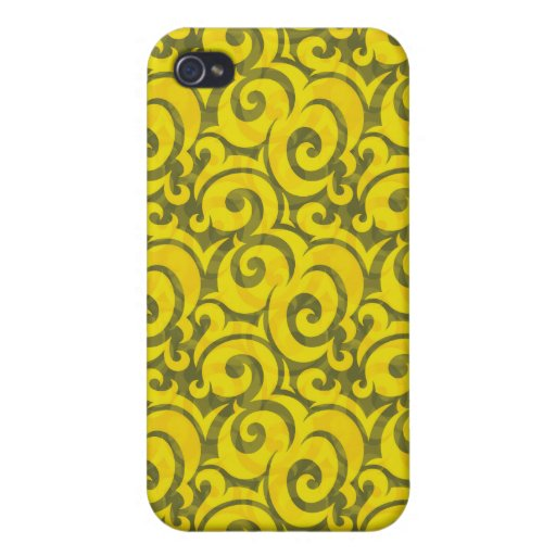 whimsical yellow pattern case for iPhone 4