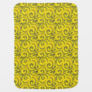 whimsical yellow pattern stroller blankets
