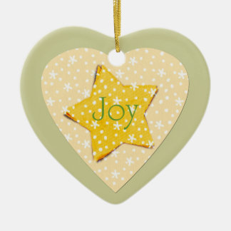 Whimsical Yellow Stars Joy Ceramic Ornament