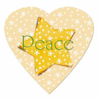 Whimsical Yellow Stars Peace Cutout